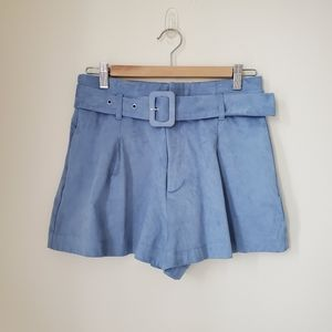 NWT Zara Belted Shorts Sky Blue Size M